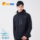 UV100 防曬 抗UV 超防潑水機能男款外套-連帽可拆