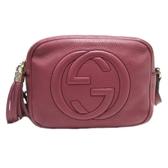 GUCCI 古馳 紫紅色牛皮流蘇肩背斜背包 相機包 Soho Small Disco Bag 308364 BRAND OFF