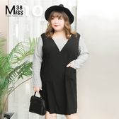 Miss38-(現貨)【A08131】顯瘦黑色格子 假兩件 長袖 大尺碼洋裝 連身裙 藏肉 可愛-中大尺碼女裝