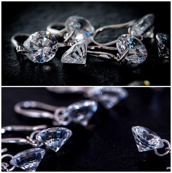 925純銀 單鑽裸鑽天然白水晶 垂墜耳環-8mm、10mm 防抗過敏 無耳洞可改夾