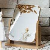 新款木質臺式化妝鏡子高清單面梳妝鏡美容鏡學生宿舍桌面鏡大號‧復古‧衣閣
