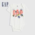 Gap嬰兒 布萊納系列 Logo純棉短袖包屁衣 733574-白色