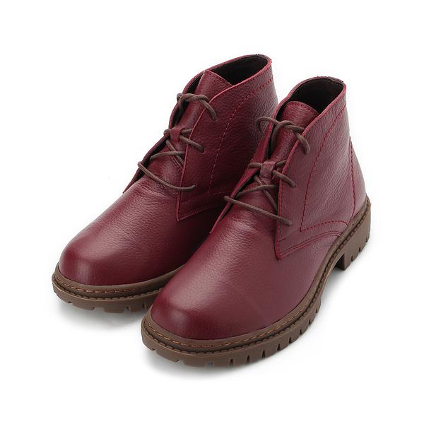 TANGO 真皮綁帶低跟短筒靴 深紅 2607 女鞋 鞋全家福