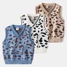 毛衣背心兒童針織背心純棉寶寶V領毛線馬甲秋裝新款童裝男童豹紋坎肩