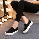 黑色一腳蹬女鞋厚底布鞋懶人松糕小白鞋樂福鞋學生球鞋工作帆布鞋 蘑菇街小屋