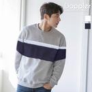 大學T 訂製款 韓系三色拼接條紋刷毛大學T 長袖上衣【BSJ5611】現貨+預購