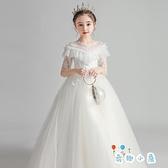 女童禮服高端蓬蓬紗花童婚禮兒童鋼琴演出服公主裙【奇趣小屋】