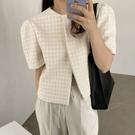 韓國CHIC夏季氣質溫柔嫩綠顯膚圓領暗扣設計寬松泡泡袖紋理短外套