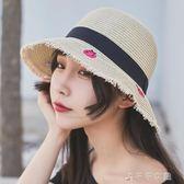 小清新刺繡草帽 日系文藝百搭韓版 太陽遮陽帽防曬帽子女夏天