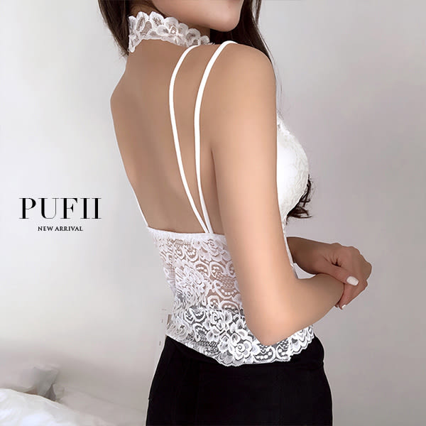 (現貨) PUFII-小可愛 細肩滿版蕾絲性感圍脖背心小可愛 2色-0419 現+預 春【ZP14455】