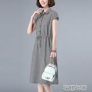 洋裝純棉格子連身裙女夏季新款韓版大碼收腰顯瘦休閒中長款a字裙 快速出貨