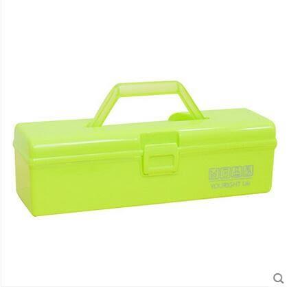 優然  炫彩帶提手收納箱醫藥箱工具箱化妝品收納盒-炫彩店(綠色 兩入)