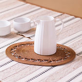 【MAGE】藤製手編橢圓形花邊餐墊(小)
