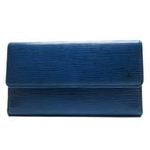 LOUIS VUITTON LV 路易威登 藍色EPI水波紋翻蓋長夾 M63385 【BRAND OFF】