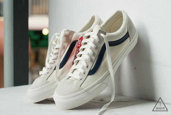 ISNEAKERS VANS STYLE36 OLD SKOOL 米白 藍 海軍藍 復刻 復古 GD著 限量 滑板鞋 VN0A3DZ3KE6
