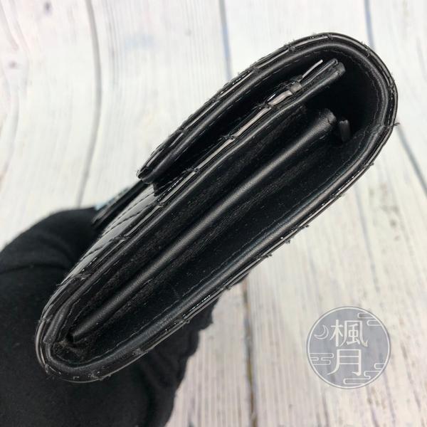BRAND楓月 CHANEL 香奈兒 20開 黑山形紋漆皮中夾 錢包 皮夾 錢夾 銀釦 暗釦 經典造型 質感 萬用百搭