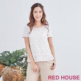 Red House 蕾赫斯-方格花朵百褶上衣(白色)