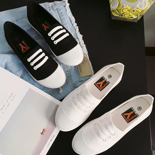 帆布鞋休閒鞋 透氣輕軟配色圓頭懶人鞋平底鞋 艾爾莎【TSB8659】