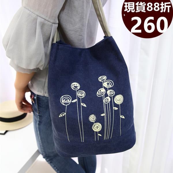 側背包 新款原創文藝小清新帆布手提包 共5色-LL628稻香-寶來小舖-現貨販售