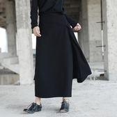 SIMPLEBLACK秋冬暗黑原創大擺羊毛厚女長裙假兩件不規則半身褲裙