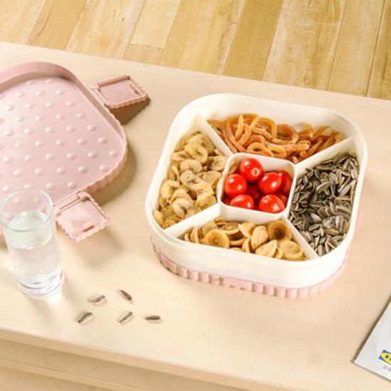 餅乾水果造型分格收納盒 乾果盤 創意 糖果盤 瓜子盤 方形 圓形 乾果 過年【P587】米菈生活館
