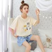 睡衣女夏季薄款純棉可愛短袖睡衣兩件套春秋ins可外穿家居服女夏新品上新