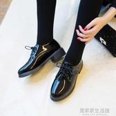 2020新款單鞋女小香英倫風小皮鞋女jk韓版百搭日系中跟黑色平底鞋  聖誕節免運