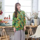 【Tiara Tiara】激安 繽紛繁花盛放純棉長袖襯衫(綠)