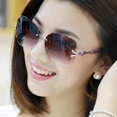 黑五好物節鏤空鏡腿無框太陽鏡墨鏡女款駕駛旅游眼鏡mandyc衣間