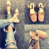 夏季時尚鉚釘中跟粗跟羅馬涼鞋方頭奶奶鞋【多多鞋包店】z7531
