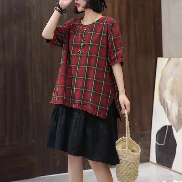 XL五分袖洋裝 格子拼接低腰裙-月兒的綺麗莊園