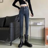 復古深色牛仔褲女年新款秋季韓版高腰彈力修身小腳鉛筆長褲子【全館免運】