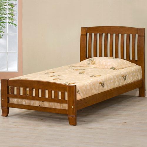 YoStyle 亞倫實木床架-3.5尺單人床(樟木色) 床台 床組 床架 實木  專人配送