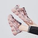 2020夏季新款顯腳小老爹鞋女韓版百搭初中學生運動跑鞋透氣旅游鞋「時尚彩紅屋」
