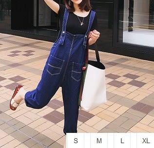 EASON SHOP(GU1105)藍色丹寧大口袋吊帶哈倫牛仔褲S-XL男友風女港風寬鬆顯瘦背帶褲連身褲垮褲
