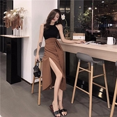 半身裙女韓版性感中長款開叉修身顯瘦有腰封腰帶的長裙   茱莉亞