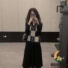 修身針織連身裙女秋冬馬甲套裝兩件套【創世紀生活館】
