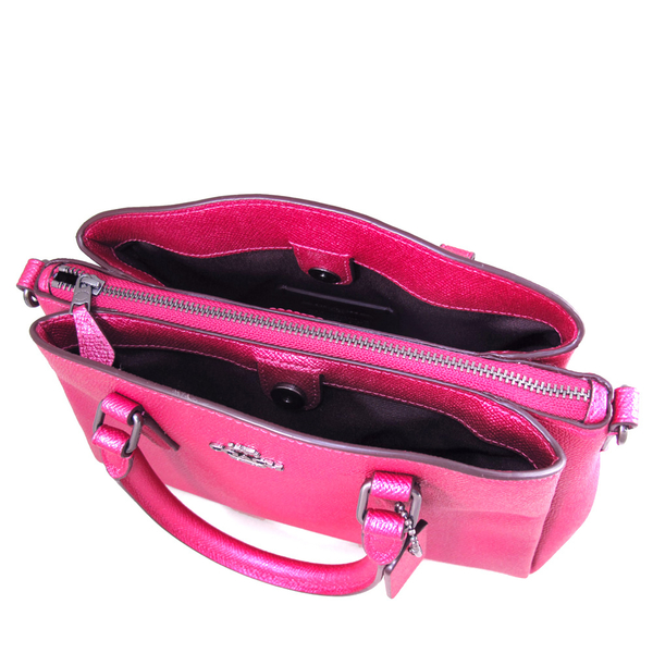 COACH 銀馬車Logo珠光皮革鏈帶三層包 兩用包 手提包 肩背包 斜背包(嫣紅色、小款)-29665