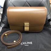 ■專櫃73折■Celine 189173 中款 頂級小牛皮CLASSIC BOX 手袋 淡駝棕色