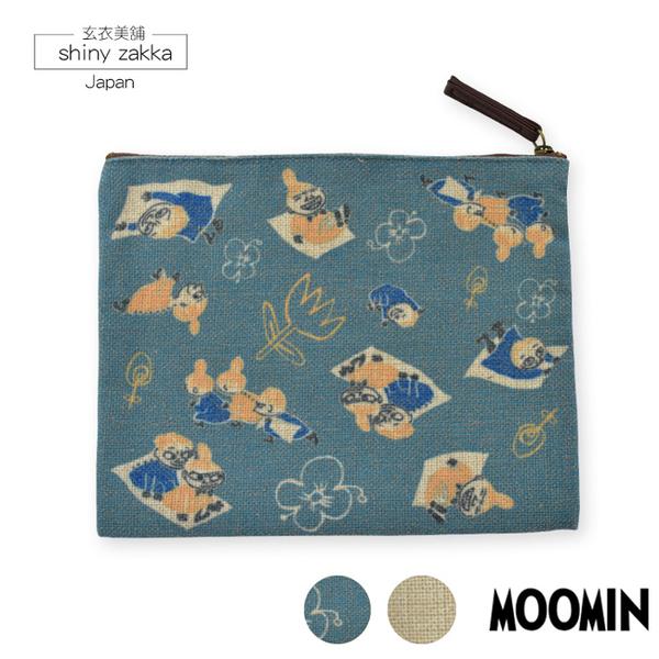 化妝包-日本嚕嚕米Moomin-扁平雙色系收納包-2色-玄衣美舖