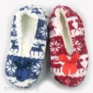 珊瑚絨雪花麋鹿防滑室內鞋 保暖拖鞋 聖誕節禮物~DK襪子毛巾大王