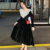 降價兩天 早秋蕾絲洋裝 黑天鵝法式絲絨連身裙 蕾絲拼接V領高腰顯瘦氣質女神裙子