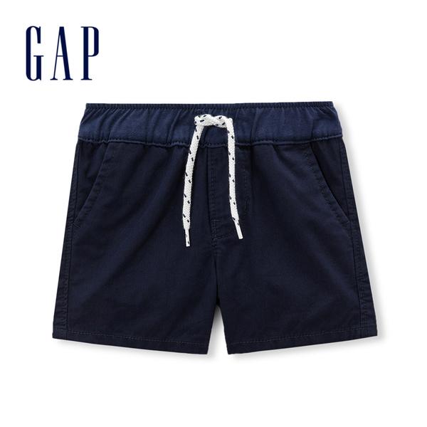 Gap嬰兒 純棉斜紋布鬆緊腰短褲 230306-海軍藍色