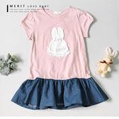 中大童 韓版公主袖珍珠貼鑽兔兔拼接牛仔裙上衣 長版 連身裙 甜美 可愛 蕾絲 洋裝  哎北比童裝