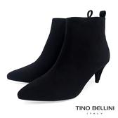 Tino Bellini 純色極簡絨布中跟尖楦短靴 _ 黑 FS8507