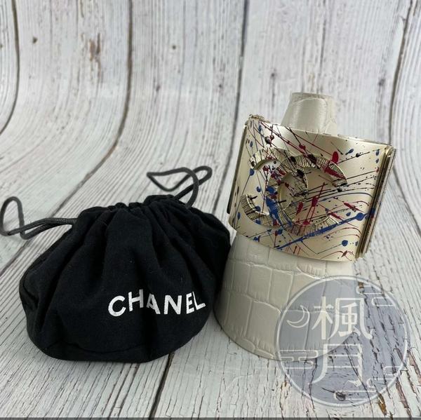 BRAND楓月 CHANEL 香奈兒 15年 白色 珍珠光 彩繪 油漆噴濺 立體圖樣 寬版 手環 手鐲