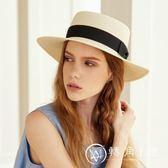 遮陽帽  品格草帽子女遮陽男士禮帽防曬平沿帽海邊沙灘帽情侶出游