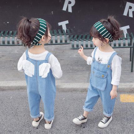 女童褲子背心背帶褲2021新款春裝韓版女寶寶洋氣兒童春秋牛仔褲童裝潮時尚個性
