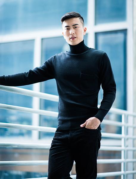 男士 針織毛衣 防縮 反褶領毛衣 純羊毛衣 三燕牌羊毛上衣 美麗諾羊毛 100%純羊毛 7979-10 反褶 黑色