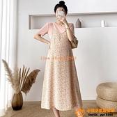洋裝連身裙孕婦夏裝時尚寬松顯瘦短袖T恤碎花吊帶裙連身裙小清新減齡兩件式【小桃子】